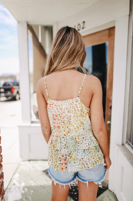 Lace Up Floral Tiered Peplum Tank