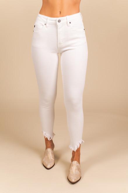 Palo Alto Frayed Ankle White Skinny Jeans