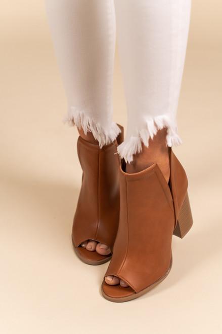 Side Slit Peep Toe Camel Booties