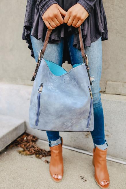 Oxford Street Zipper Detail Blue Hobo Bag