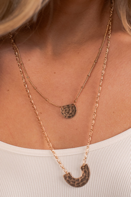 Layered Textured Gold Necklace