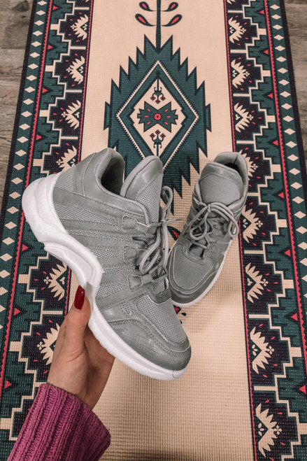 On the Move Grey Lace Up Sneakers