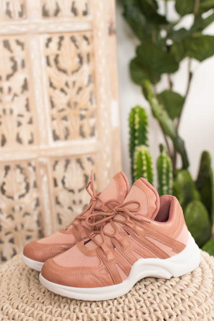 On the Move Mauve Lace Up Sneakers