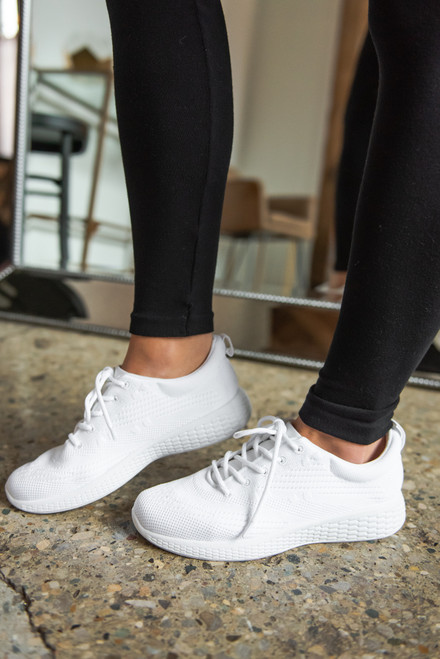 Goal Getter White Flyknit Sneakers