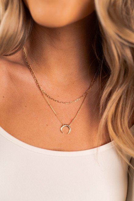 Layered Crescent Gold Necklace