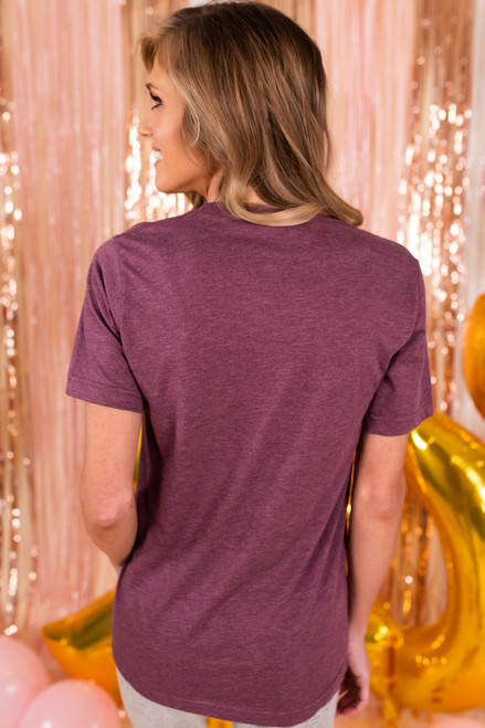 Wine Is My Valentine Plum Tee