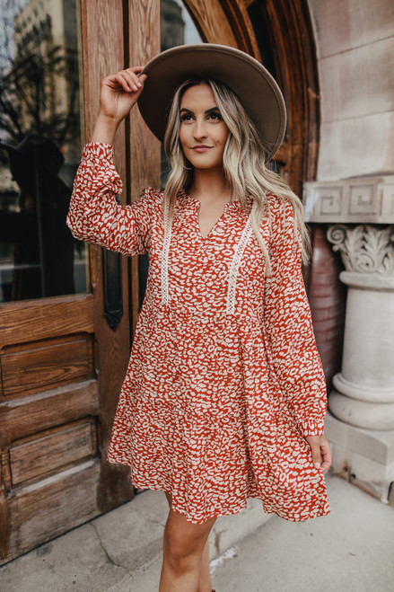 Tiered Ruffle Rust Leopard Dress