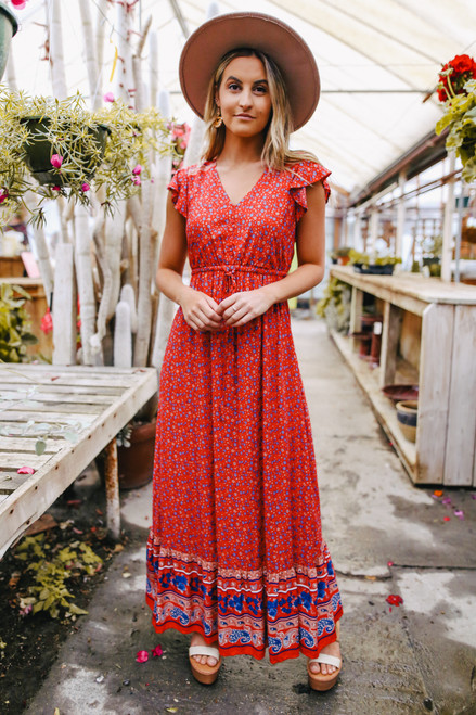 Cabana Queen Red Printed Maxi