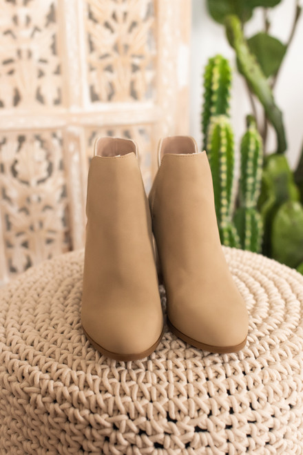 Faux Nubuck Light Taupe Slit Booties