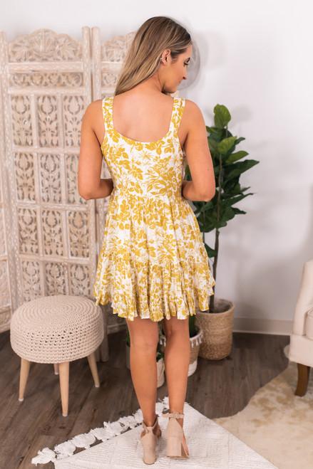 Button Down Mustard Floral Dress