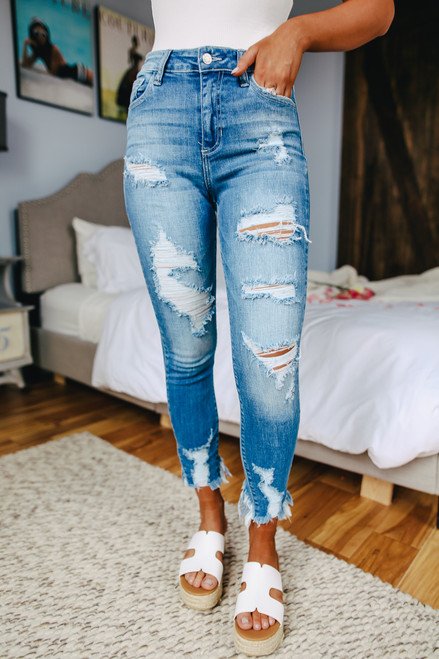Top Shelf Distressed Medium Wash Skinny Jeans