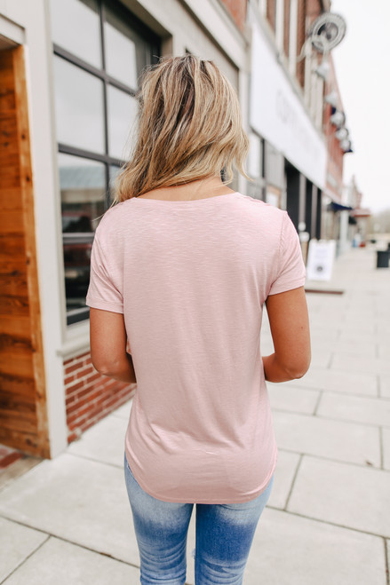 V-Neck Rose Slubbed Tee