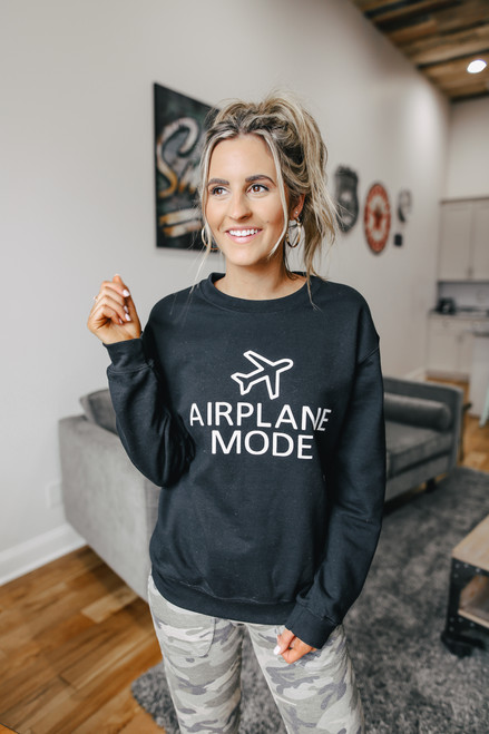 Airplane Mode Black Sweatshirt