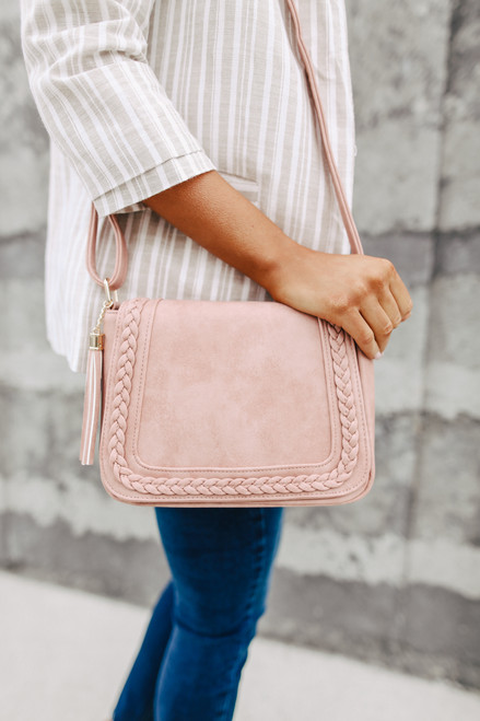 Alexandria Pink Braided Crossbody Bag
