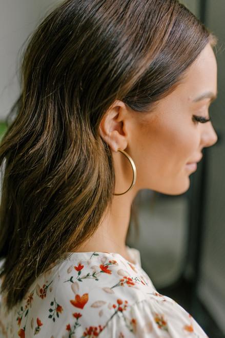 Flat Gold Hoop Earrings