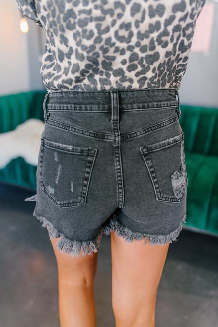 Teen Spirit Faded Black Distressed Shorts