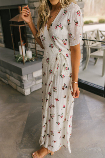 Everly Dotted Ivory Floral Wrap Maxi