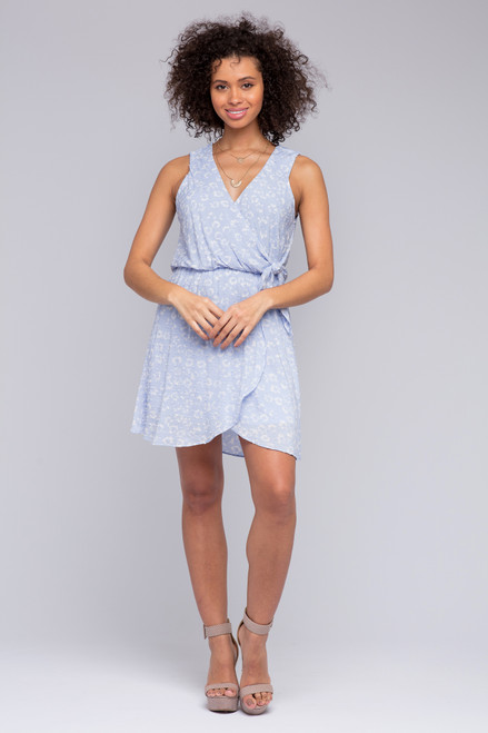 Everly Blue Printed Faux Wrap Dress