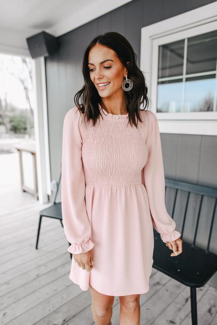 Everly Long Sleeve Smocked Rose Dress