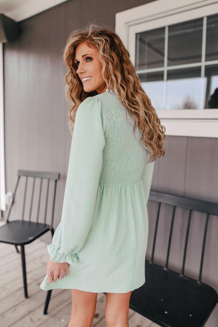 Everly Long Sleeve Smocked Sage Dress