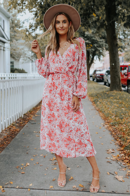 Everly Faux Wrap Coral Floral Midi Dress