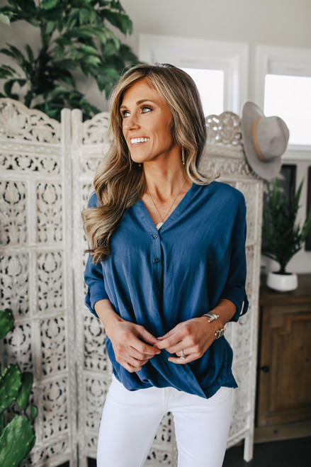 Everly Button Down Navy Twisted Hem Top