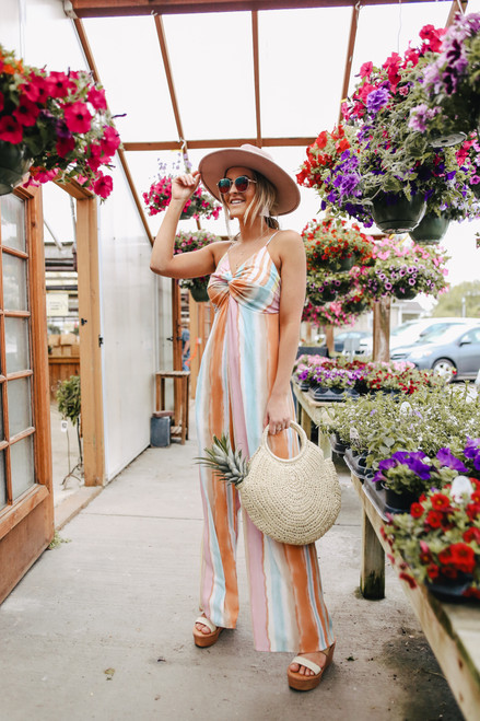 Everly Rainbow Watercolor Stripe Jumpsuit