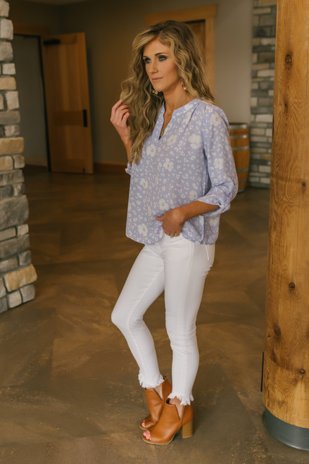 Everly V-Neck Lilac Floral Blouse