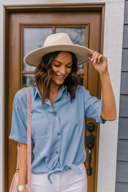 Everly Button Down Chambray Knot Shirt