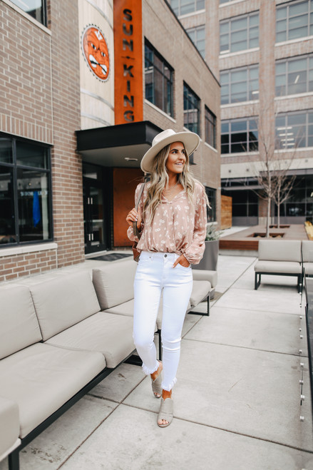 Everly Surplice Taupe Floral Blouse