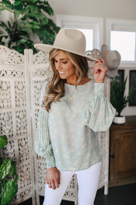 Everly Sage Floral Textured Blouse