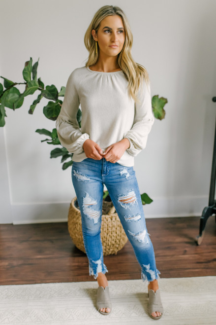 Everly Balloon Sleeve Oatmeal Brushed Top