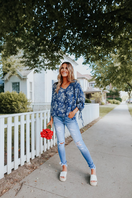 Everly V-Neck Navy Floral Blouse