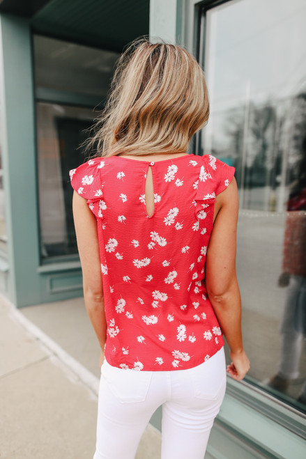 Everly Red Floral Blouse