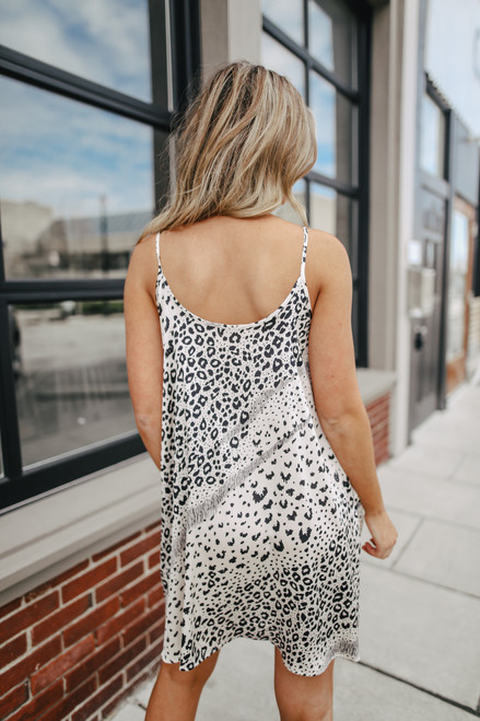 Leopard Mixed Print Satin Dress