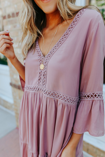 V-Neck Ladder Detail Rose Babydoll Dress