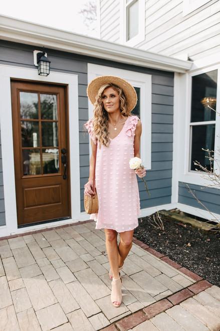 Ruffle Strap Peach Pink Pom Dress