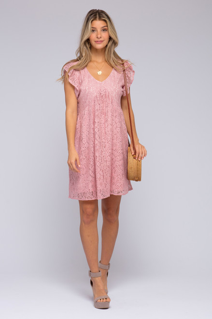 Cap Sleeve Pink Lace Babydoll Dress