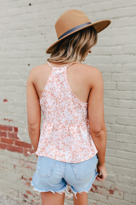Everly Apricot Floral Peplum Tank