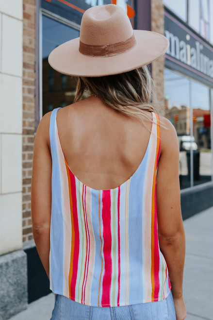 Everly Scoop Neck Rainbow Stripe Tank