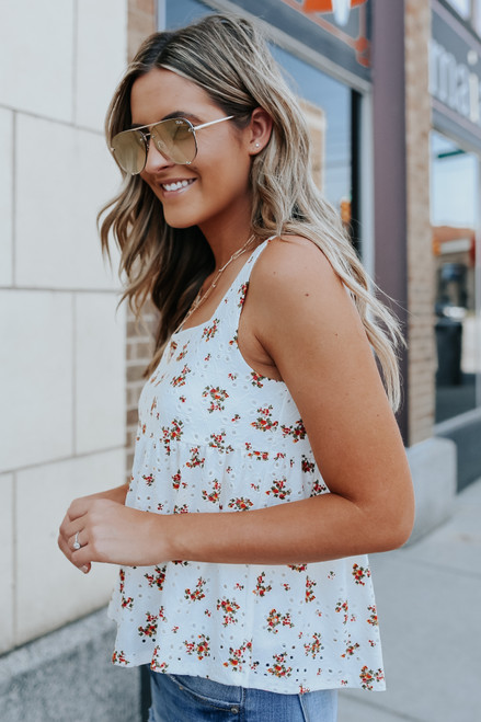Everly Square Neck Floral Eyelet Babydoll Tank