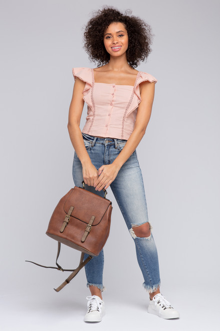 Ruffle Sleeve Button Down Pink Top