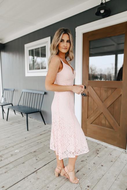 V-Neck Blush Lace Midi Dress