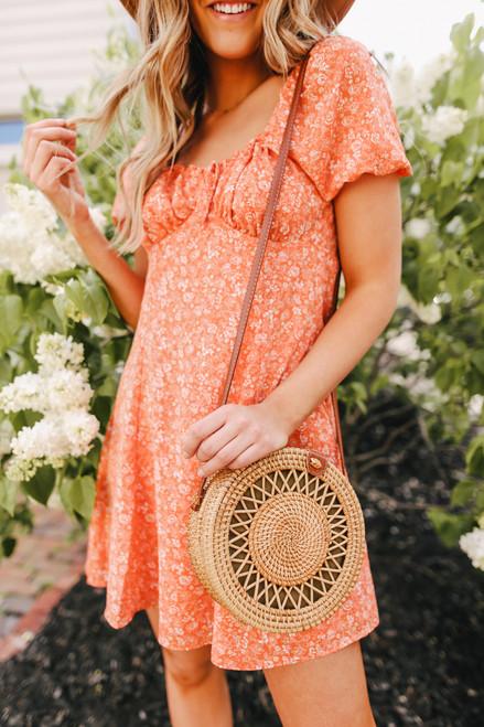 Cabo Coast Orange Floral Peasant Dress