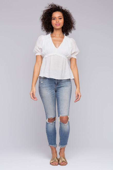 Short Sleeve White Empire Top