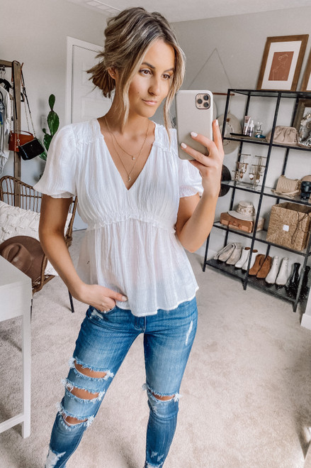 Short Sleeve White Empire Top