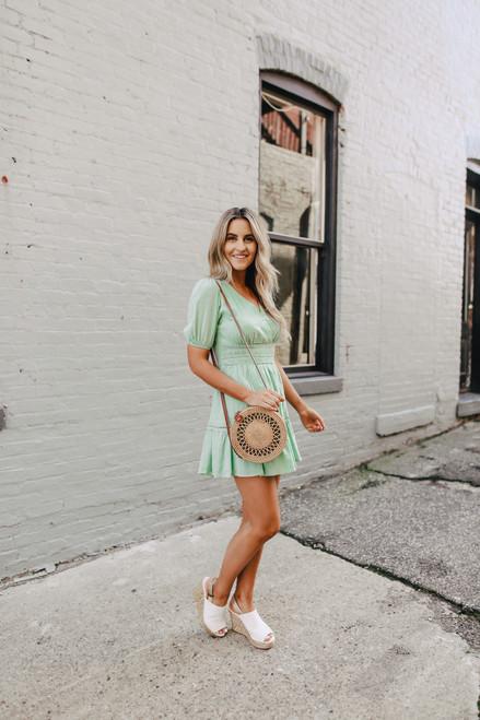 Crochet Detail Surplice Mint Dress