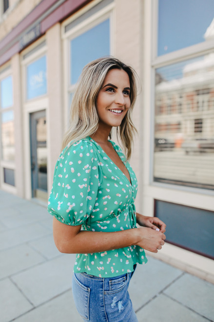 Empire Teal Dotted Peplum Blouse