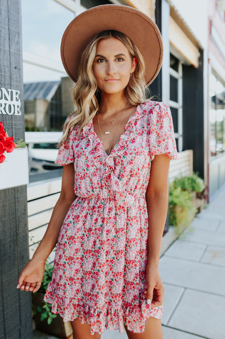 Surplice Ruffle Floral Mauve Mini Dress