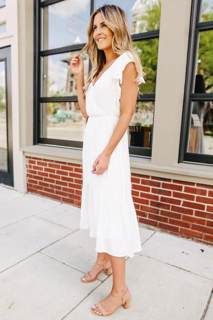 Ruffle Sleeve Surplice White Midi Dress